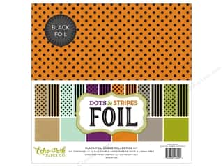 scrapbooking & paper crafts: Echo Park Collection Dots & Stripes Black Foil Combo Collection Kit 12 in. x 12 in.