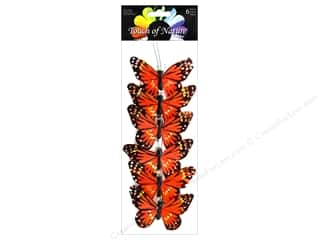 "floral & garden: Midwest Design Butterfly 3"" Feather Monarch Orange 6 pc"