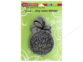 Ornament: Stampendous Cling Rubber Stamp Merry Ornament