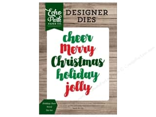 die cutting machines: Echo Park Collection Christmas Cheer Die Set Word Holiday Cheer