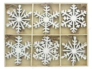"Sierra Pacific Wood Ornament Snowflakes .5"" Box 12pc White Picture"