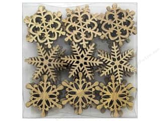 Sierra Pacific Crafts Wood Filler Snowflakes .75 in. Box 36 pc Brown