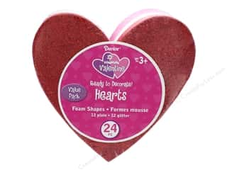 novelties: Darice Foamies Base Heart Half Glitter Value Pack 24 pc
