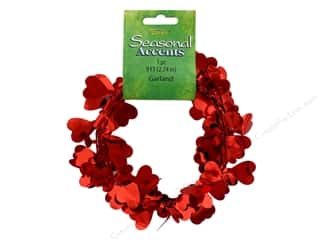 Darice Garland Heart 9' Red