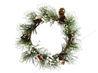 Sierra Pacific Crafts Wreath Snowy Pine with Berries & Pinecones Green/Red/White