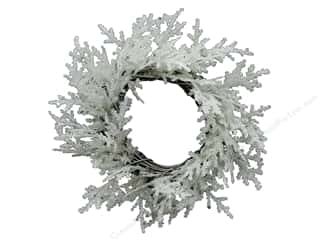 resin: Sierra Pacific Crafts Decor Wreath Small Cedar With Glitter 3.5 in.  White