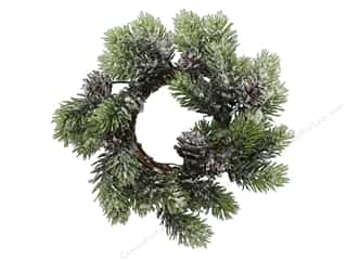 Sierra Pacific Crafts Decor Candle Ring With Snow Pine 10 in. Green