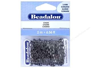 beading & jewelry making supplies: Beadalon Chain Cable Elongated 3.4mm Hematite 2 M