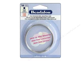 craft & hobbies: Beadalon 316L Stainless Steel Wrapping Wire 18 ga Square 5.7 ft.