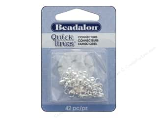 beading & jewelry making supplies: Beadalon Quick Links Connectors Large Silver 42 pc.
