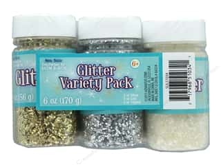 craft & hobbies: Sulyn Glitter Variety Pack 6oz 3 pc Silver, Gold, Crystal
