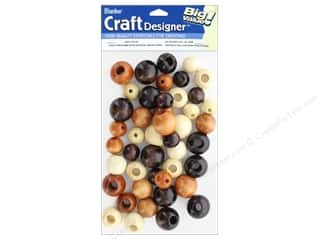 craft & hobbies: Darice Large Round Wood Beads 45 pc. Assorted Natural, Tan and Brown Colors