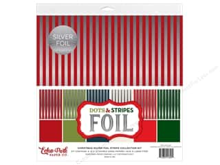 Echo Park Collection Dots & Stripes Silver Foil Stripe Collection Kit 12 in. x 12 in.