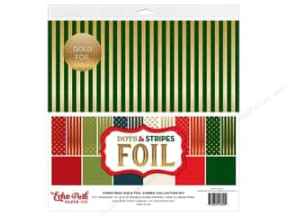 Echo Park Collection Dots & Stripes Christmas Gold Foil Combo Collection Kit