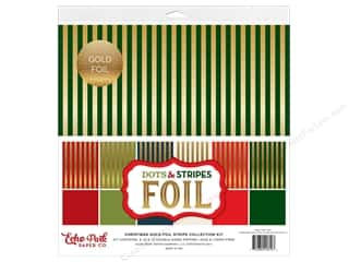 Echo Park Collection Dots & Stripes Christmas Gold Foil Stripe Collection Kit