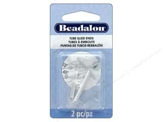 beading & jewelry making supplies: Beadalon Findings Tube Slide End 30mm 2pc Silver Plate