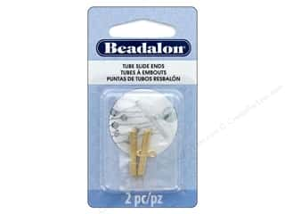 beading & jewelry making supplies: Beadalon Findings Tube Slide End 23cmm 2cpc Gold Color