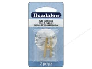 craft & hobbies: Beadalon Findings Tube Slide End 30 mm 2 pc Gold Color