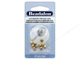 Beadalon Memory Wire End Cap Gold Color 10 pc