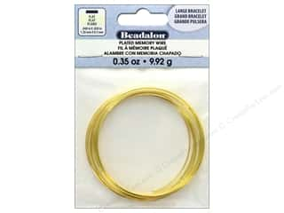 beading & jewelry making supplies: Beadalon Flat Memory Wire Large Bracelet .35 oz. Gold