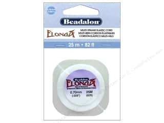 cording: Beadalon Elonga Stretchy Bead Stringing Cord .7 mm White 82 ft.