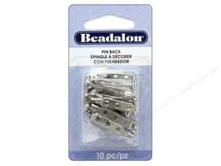beading & jewelry making supplies: Beadalon Pin Back 1 in. Rhodium Plated 10 pc.
