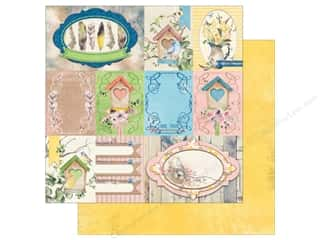 scrapbooking & paper crafts: Bo Bunny Collection Serendipity Paper 12 in. x 12 in. Songbird (25 pieces)