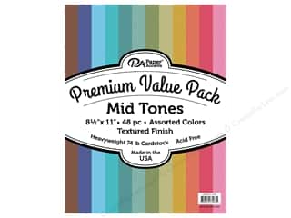 Premium Cardstock: Paper Accents Cardstock Pack Premium 8.5 in. x 11 in. Assorted Textured Mid Tones 48 pc