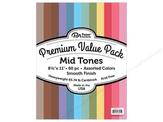 Premium Cardstock: Paper Accents Cardstock Pack Premium 8.5 in. x 11 in. Assorted Smooth Mid Tones 60 pc