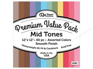 Premium Cardstock: Paper Accents Cardstock Pack Premium 12 in. x 12 in. Assorted Smooth Mid Tones 60 pc
