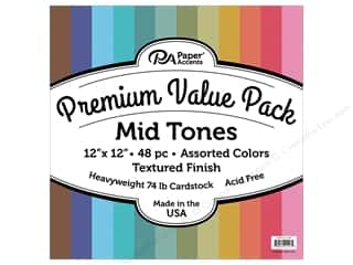 Premium Cardstock: Paper Accents Cardstock Pack Premium 12 in. x 12 in. Assorted Textured Mid Tones 48 pc