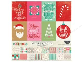 patterned paper kit: Authentique Collection Colorful Christmas Collection Kit 12 in. x 12 in.