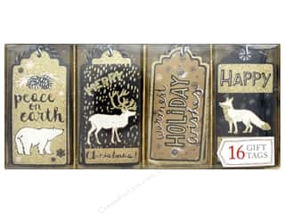 die cuts: Molly & Rex Gift Tags Holiday Christmas Kraft 16 pc