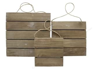 Sierra Pacific Wood Plaque Set Slats & Rope Hanger Set of 3