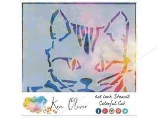 scrapbooking & paper crafts: Contact Crafts Ken Oliver Stencil 6 in. x 6 in. Colorful Cat