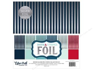 Echo Park Dots & Stripes Winter Silver Foil Stripe Kit 12 in. x 12 in.