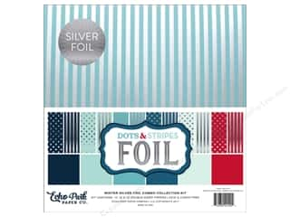 scrapbooking & paper crafts: Echo Park Dots & Stripes Winter Silver Foil Combo Kit 12 in. x 12 in.