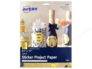"scrapbooking & paper crafts: Avery Printable Sheet Sticker Paper 8.5""x 11"" Gold 3pc"