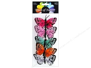 floral & garden: Midwest Design Butterfly 3 in.  Feather Assorted 5 pc