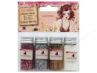 craft & hobbies: Docrafts Santoro Willow Color Me In Glitter Pack 4 pc