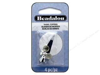 beading & jewelry making supplies: Beadalon Findings Tassel Topper Beveled Cone 1.7 mm Silver Plate 4 pc