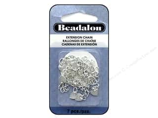 beading & jewelry making supplies: Beadalon Findings Extension Chain Heart Silver Plate 7 pc