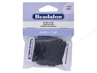 beading & jewelry making supplies: Beadalon Cord Wax 1.5 mm Black 7 yd