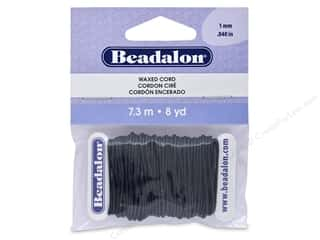 beading & jewelry making supplies: Beadalon Cord Wax 1.0 mm Black 8 yd
