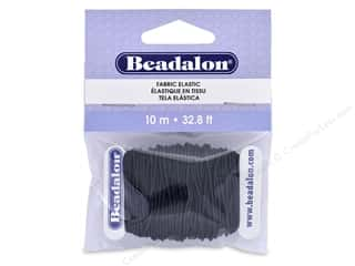 beading & jewelry making supplies: Beadalon Cord Fabric Elastic Bead 1.0 mm Black 10 M