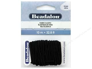 Cord Elastic: Beadalon Cord Fabric Elastic Bead .6mm Black 10M