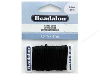 beading & jewelry making supplies: Beadalon Cord Wax .8 mm Black 8 yd