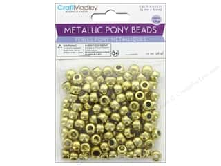craft & hobbies: Multicraft Bead Pony 9mm x 6mm Barrel Metallic Gold