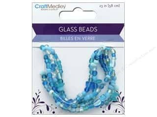 Multicraft Bead Glass Mix 5 Strand Ocean Blue