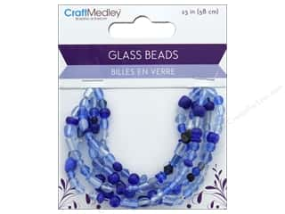 beading & jewelry making supplies: Multicraft Bead Glass Mix 5 Strand Royal Blue